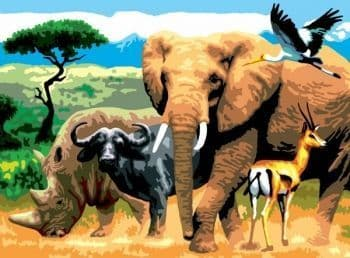 Paint by numbers - African animals